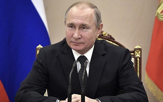 Russian President Vladimir Putin chairs a Security Council meeting in Moscow, on February 1, 2019. (Alexei Nikolsky, Sputnik, Kremlin Pool Photo via AP)