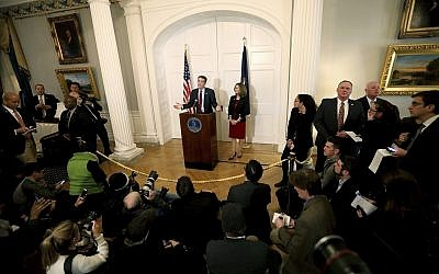 Virginia Gov. Ralph Northam, with his wife Pam at his side, speaks at a press conference in the Executive Mansion at the Capitol in Richmond, Va., Saturday, Feb. 2, 2019. (Steve Earley/The Virginian-Pilot via AP)
