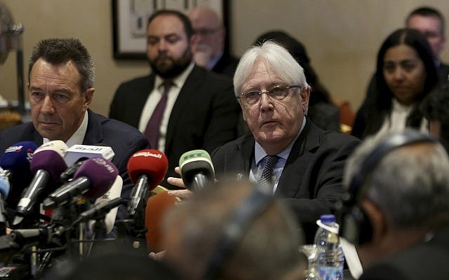 United Nations Special Envoy to Yemen Martin Griffiths, center, and President of the International Committee of the Red Cross Peter Maurer, during a new round of talks by Yemen's warring parties in Amman, Jordan, February 5, 2019. (Raad Adayleh/AP)