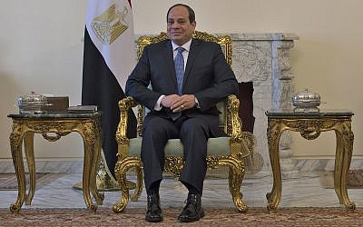 In this file photo from January 10, 2019, Egyptian President Abdel-Fattah el-Sissi meets with US Secretary of State Mike Pompeo, in Cairo, Egypt. (Andrew Caballero-Reynolds/Pool Photo via AP, File)