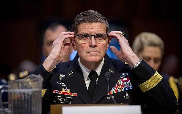 US Central Command head Gen. Joseph Votel testifies before a Senate Armed Services Committee hearing on Capitol Hill, on February 5, 2019, in Washington. (AP Photo/Andrew Harnik)