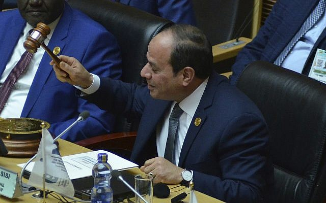 Egyptian President Abdel Fattah el-Sissi, the new chairman of the African Union, at the 32nd African Union Summit, in Addis Ababa, February 10, 2019. (Samuel Habtab/AP)