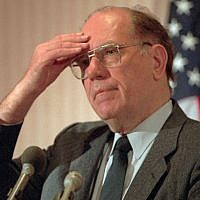 In this Feb. 3, 1994, file photo, Lyndon LaRouche Jr. gestures during a news conference in Arlington, Va. Political extremist and perennial presidential candidate LaRouche has died on feb. 12, 2019, at age 96. (AP Photo/Joe Marquette, File)