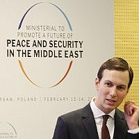 White House Senior Adviser Jared Kushner attends a conference on Peace and Security in the Middle East in Warsaw, Poland, Thursday, Feb. 14, 2019. (AP Photo/Czarek Sokolowski)