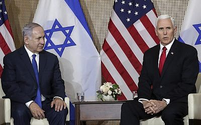 United States Vice President Mike Pence, right, talks to the media during a bilateral meeting with Prime Minister Benjamin Netanyahu, left, in Warsaw, Poland, February 14, 2019. (Michael Sohn/AP)