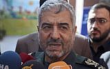 In this file photo from October 31, 2017, the head of Iran's Islamic Revolutionary Guard Corps Mohammad Ali Jafari speaks to journalists after his speech at a conference called 'A World Without Terror,' in Tehran, Iran. (AP Photo/Vahid Salemi, File)