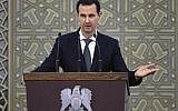 In this photo released by the Syrian official news agency SANA, Syrian President Bashar Assad speak during meeting with heads of local councils from all Syrian provinces, in Damascus, Syria, Sunday, Feb. 17, 2018. (SANA via AP)