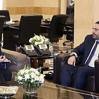 United States Ambassador to Lebanon Elizabeth Richard, left, speaks with Lebanese Prime Minister Saad Hariri, at the government House, in Beirut, Lebanon, on February 19, 2019. (Dalati Nohra via AP)