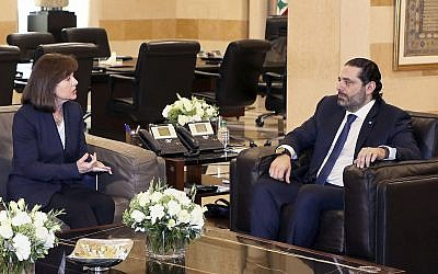 United States Ambassador to Lebanon Elizabeth Richard, left, speaks with Lebanese Prime Minister Saad Hariri, at the government House, in Beirut, Lebanon, on February 19, 2019. (Dalati Nohra via AP)