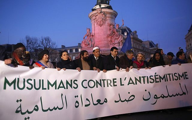 French Muslim gather at the Republique square to protest against anti-Semitism in Paris, France, Feb. 19, 2019.  (AP Photo/Thibault Camus)