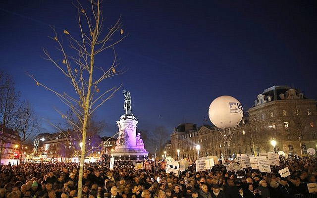 People gather at Republique square to protest against anti-Semitism, in Paris, France, February 19, 2019.  (AP Photo/Thibault Camus)