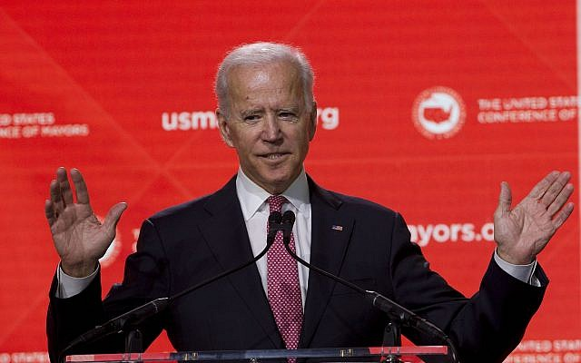 In this January 24, 2019, file photo, former US vice president Joe Biden speaks at the US Conference of Mayors Annual Winter Meeting in Washington. (AP Photo/Jose Luis Magana, File)