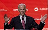 Former vice president Joe Biden speaks during the US Conference of Mayors Annual Winter Meeting in Washington on January 24, 2019.  (AP/Jose Luis Magana)