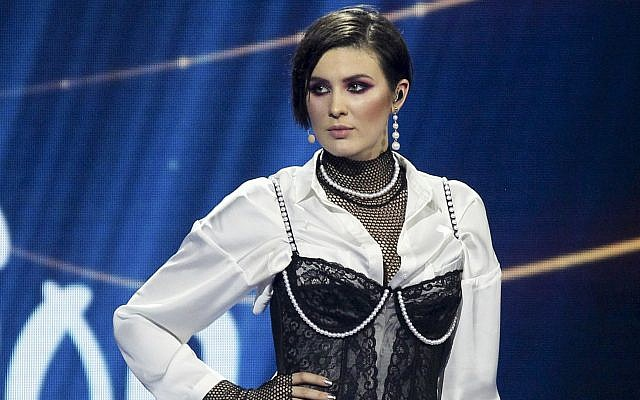 Anna Korsun, who performs under the name of Maruv poses for a photo on stage at the national nomination for Eurovision in Kiev, Ukraine, February 24, 2019. (Vladimir Donsov/AP)