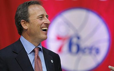 Philadelphia 76ers owner Joshua Harris laughs before the start of a news conference at the Palestra, Oct. 18, 2011, in Philadelphia (AP Photo/Matt Rourke)