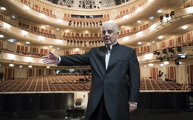 Musical director and conductor Daniel Barenboim stands in the main concert hall of the newly renovated Staatsoper opera house in Berlin, Germany, Friday, Sept. 29, 2017. (Bernd von Jutrczenka/dpa via AP)