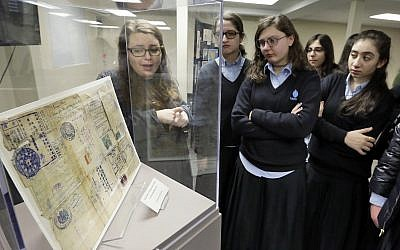 Illustrative: A tour at the Amud Aish Memorial Museum in Brooklyn, NY on January 10, 2018. The museum focuses on Jewish religious practice and the role of faith during the Holocaust. (AP Photo/Richard Drew)