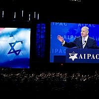 Prime Minister Benjamin Netanyahu speaks at the 2018 American Israel Public Affairs Committee (AIPAC) policy conference, at the Washington Convention Center, March 6, 2018, in Washington, DC. (AP Photo/Jose Luis Magana)