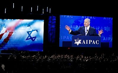 Prime Minister Benjamin Netanyahu speaks at the 2018 American Israel Public Affairs Committee (AIPAC) policy conference, at Washington Convention Center, March 6, 2018, in Washington. (AP Photo/Jose Luis Magana)