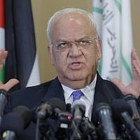 Palestinian Saeb Erekat speaks during a press conference in the West Bank city of Ramallah, on September 11, 2018. (AP Photo/Nasser Shiyoukhi)
