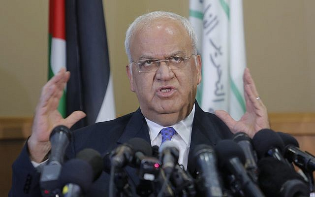 Saeb Erekat speaks during a press conference in the West Bank city of Ramallah, on September 11, 2018. (AP Photo/Nasser Shiyoukhi)