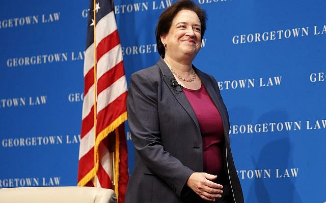 US Supreme Court Justice Elena Kagan arrives for a discussion on pro bono service, Wednesday, Oct. 24, 2018, at Georgetown Law University in Washington. (AP Photo/Jacquelyn Martin)