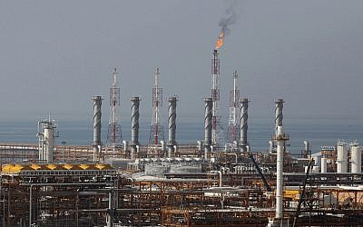 A partially constructed gas refinery at the South Pars gas field is seen on the northern coast of Persian Gulf in Asalouyeh, Iran, on  January 22, 2014. (AP Photo/Vahid Salemi, File)