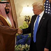 US President Donald Trump shakes hands with Saudi Crown Prince Mohammed bin Salman, in Riyadh, Saudi Arabia, on May 20, 2017. (AP/Evan Vucci)