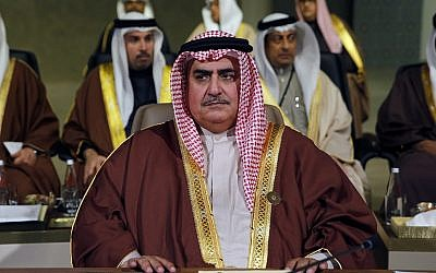 Bahraini Foreign Minister Khalid bin Ahmed al-Khalifa attends the Arab Economic and Social Development Summit, in Beirut, Lebanon, January 20, 2019. (AP Photo/Bilal Hussein)