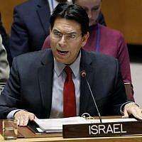 Israel's UN Ambassador Danny Danon addresses the United Nations Security Council, at UN headquarters, on January 22, 2019. (AP Photo/Richard Drew)