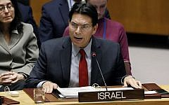 Israel's UN Ambassador Danny Danon addresses the United Nations Security Council, at UN headquarters, on January 22, 2019. (AP Photo/Richard Drew)