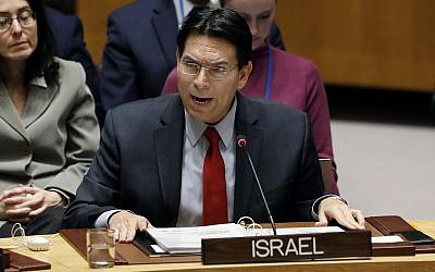 File: Israel's UN Ambassador Danny Danon addresses the United Nations Security Council, at UN headquarters, on January 22, 2019. (AP Photo/Richard Drew)