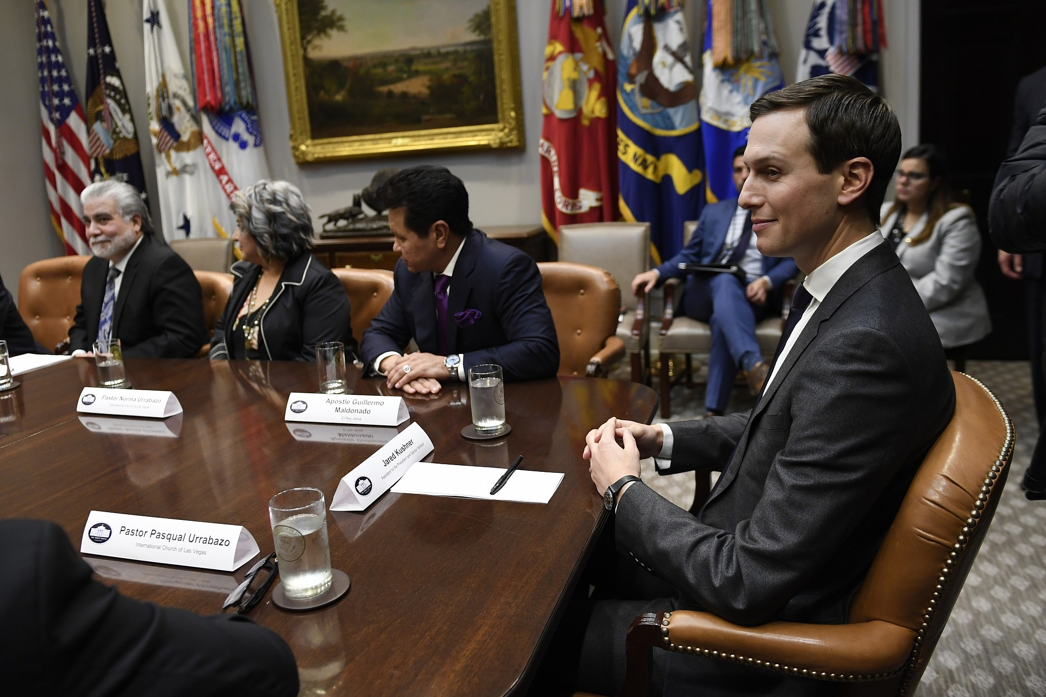 White House adviser Jared Kushner attends a meeting with President Donald Trump and Hispanic pastors in the Roosevelt Room of the White House in Washington Friday Jan. 25 2019