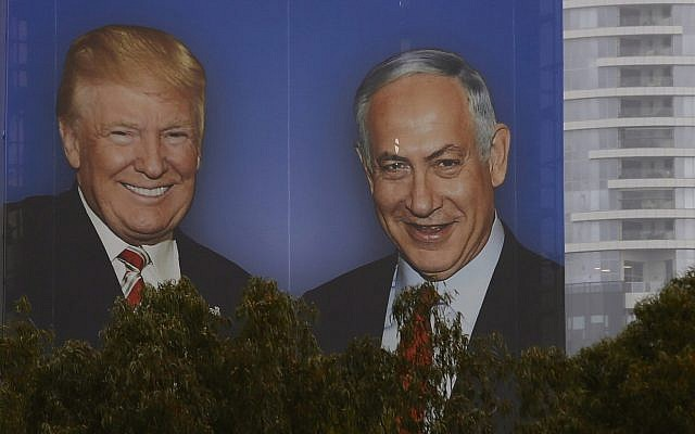 In this Wednesday, February 6, 2019 photo, an election campaign billboard shows Israeli Prime Minister Benjamin Netanyahu, and US President Donald Trump in Tel Aviv (AP Photo/Ariel Schalit)