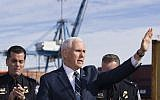 US Vice President Mike Pence waves before speaking after a tour of Customs and Border Protection operations at the Port of Baltimore, Friday, Feb. 8, 2019, in Baltimore. (AP Photo/Alex Brandon)