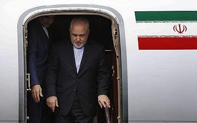 Iran's Foreign Minister Mohammad Javad Zarif arrives at Rafik Hariri Airport, in Beirut, Lebanon, February 10, 2019. (Hussein Malla/Ap)