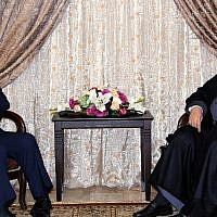 In this picture provided by Hezbollah Media Relations office, Hezbollah leader Hassan Nasrallah, right, meets with Iran's Foreign Minister Mohammad Javad Zarif, in Beirut, Lebanon, February 11, 2019. (Hezbollah Media Relations Office, via AP)