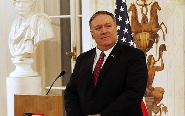 US Secretary of State Mike Pompeo at a news conference with Polish Foreign Affairs Minister at Lazienki Palace, during his visit to Warsaw, Poland, Tuesday, Feb. 12, 2019.(AP Photo/Czarek Sokolowski)