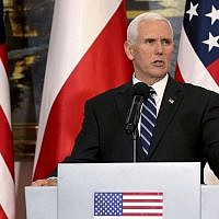 US Vice President Mike Pence speaks during a joint statement as part of a meeting with Poland's President Andrzej Duda at Belvedere palace in Warsaw, Poland, February 13, 2019.  (AP Photo/Michael Sohn)