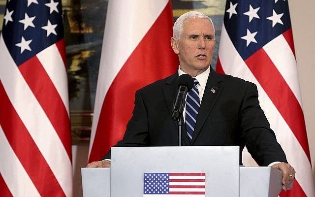 US Vice President Mike Pence speaks during a joint statement as part of a meeting with Poland's President Andrzej Duda at Belvedere palace in Warsaw, Poland, Wednesday, Feb. 13, 2019.  (AP Photo/Michael Sohn)