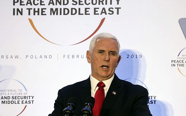 United States Vice President Mike Pence speaks at a conference on Peace and Security in the Middle East in Warsaw, Poland, February 14, 2019. (AP Photo/Michael Sohn)