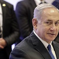 Prime Minister Benjamin Netanyahu at a conference on Peace and Security in the Middle East in Warsaw, Poland, Thursday, Feb. 14, 2019 (AP Photo/Michael Sohn)
