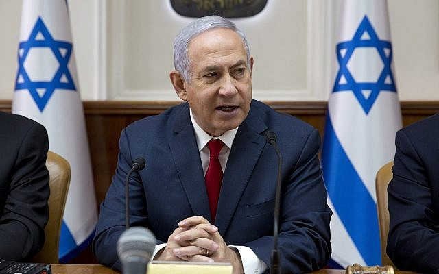 Prime Minister Benjamin Netanyahu chairs the weekly cabinet meeting at the Prime Minister's Office in Jerusalem, February 17, 2019. (Sebastian Scheiner/AP)