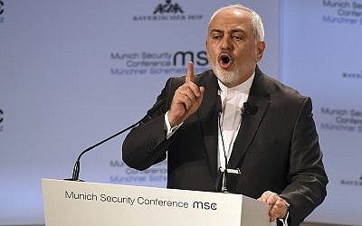 Iranian Foreign Minister Mohammad Javad Zarif speaks during the Munich Security Conference in Munich, Germany, Feb. 17, 2019. (AP Photo/Kerstin Joensson)