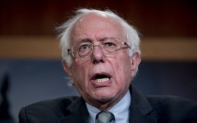 Senator Bernie Sanders, Independent-Vermont, speaks at a news conference on Capitol Hill in Washington, January 30, 2019. (Andrew Harnik/AP)