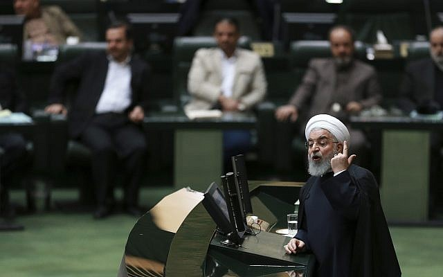 Iranian President Hassan Rouhani speaks in parliament, in Tehran, Iran, on February 4, 2019 (AP Photo/Vahid Salemi)