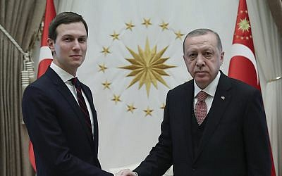Turkey's President Recep Tayyip Erdogan, right, shakes hands with Jared Kushner, left, US President Donald Trump's adviser, prior to their meeting at the Presidential Palace in Ankara, Turkey, Wednesday, Feb. 27, 2019 (Presidential Press Service via AP, Pool)