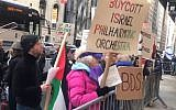 Screen capture from video of anti-Israel protesters outside demonstrating against a performance by the Israel Philharmonic Orchestra in Carnegie Hall, New York, February 3, 2019. (Twitter)