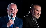 Prime Minister Benjamin Netanyahu, left, and Attorney General Avichai Mandelblit, in a composite photo. (Yonatan Sindel/Flash90)