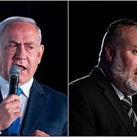 Prime Minister Benjamin Netanyahu, left, and Attorney General Avichai Mandelblit in a composite photo. (Yonatan Sindel/Flash90)